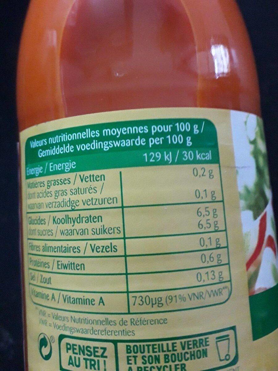 Jus de carottes - Nutrition facts - fr