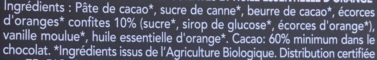 Chocolat Noir Oranges Confites - Ingrediënten - fr