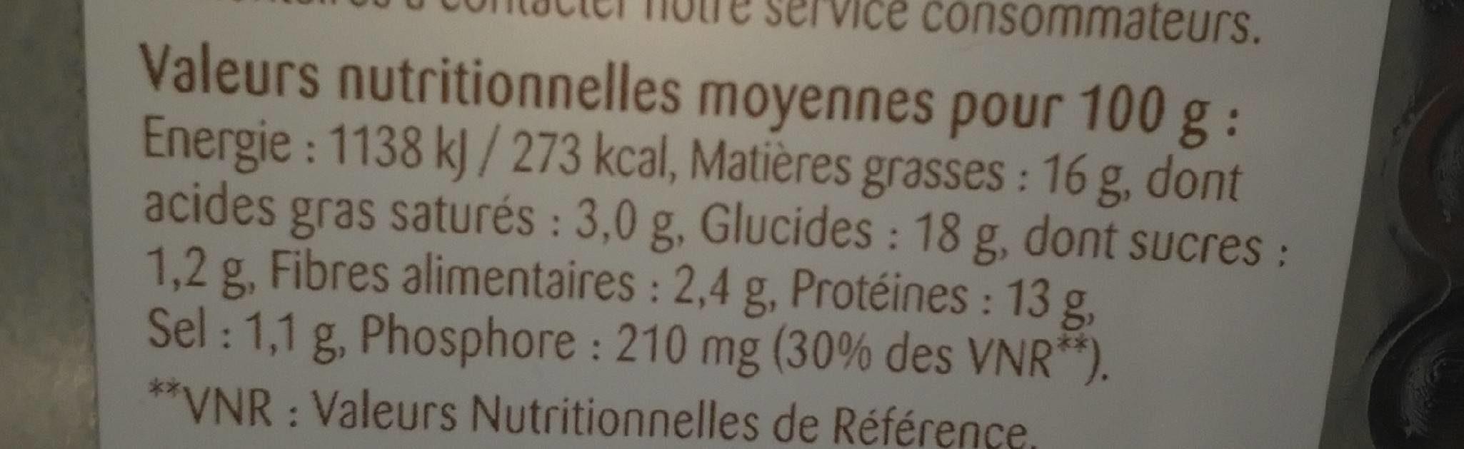 Galettes Végétales au Comté - Nutrition facts