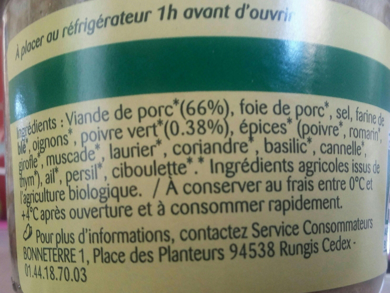 Epicerie / Poisson, Viande, Pâtés / Pâtés, Rillettes, Terrines - Ingrédients
