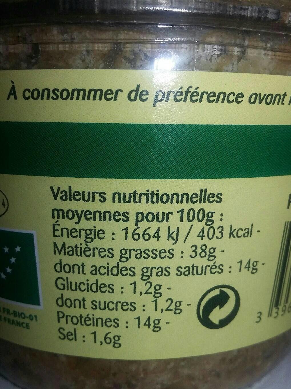 Epicerie / Poisson, Viande, Pâtés / Pâtés, Rillettes, Terrines - Informations nutritionnelles
