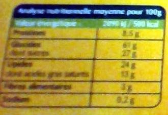 Sablés choco lait - Informations nutritionnelles
