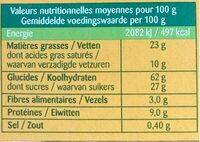 Sablés choco lait - Informations nutritionnelles - fr