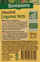 MOULINE DE LEGUMES VERTS - Ingrediënten - fr