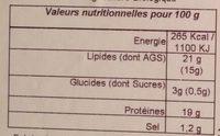 Fromage de Chèvre (19 % MG) - Voedigswaarden