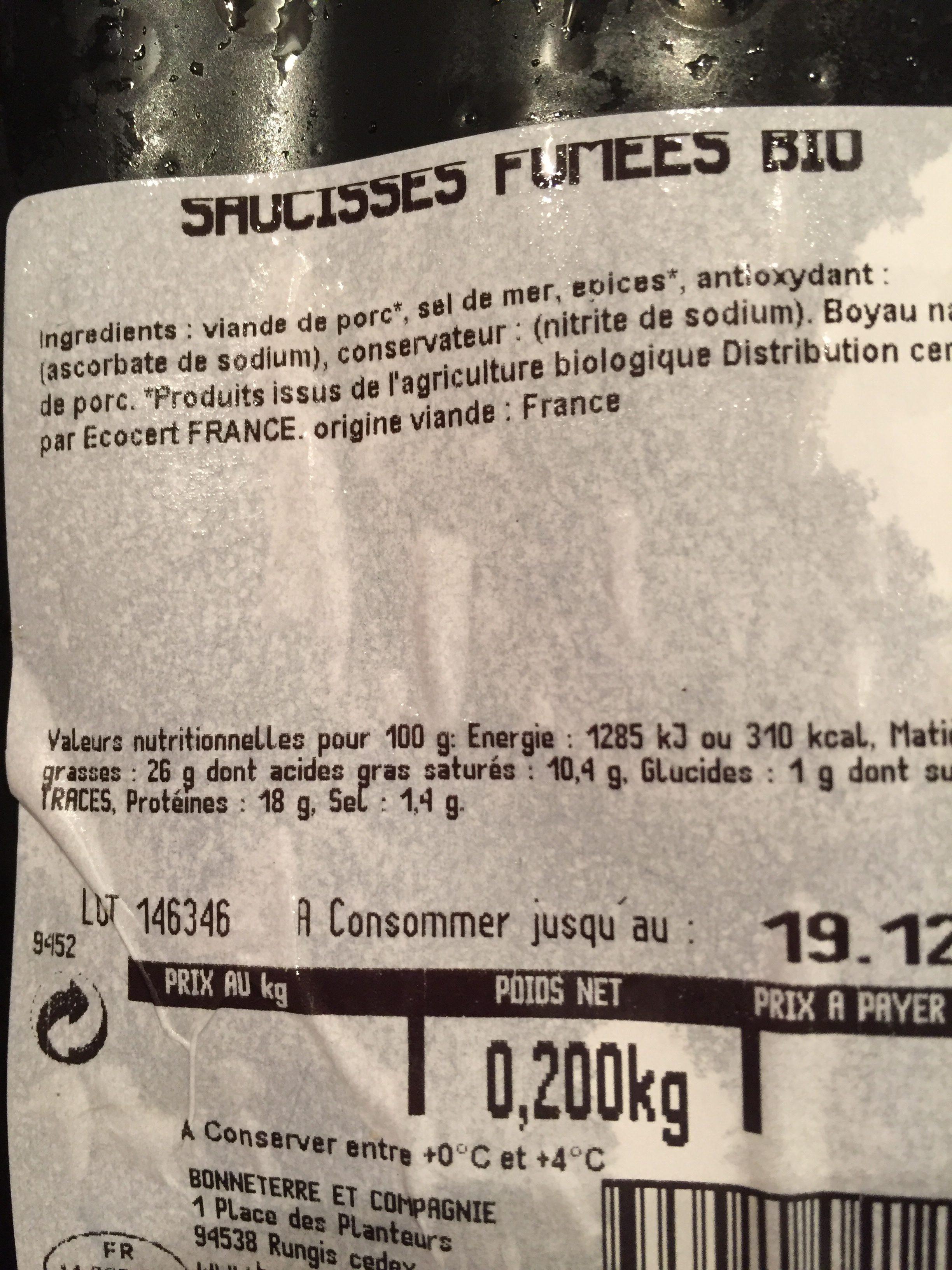 Saucisses Fumees X2 - Ingredients - fr