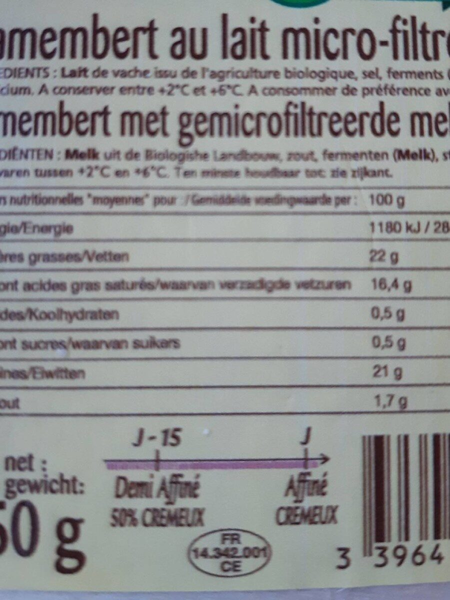 Camembert Sélection - Nutrition facts - fr