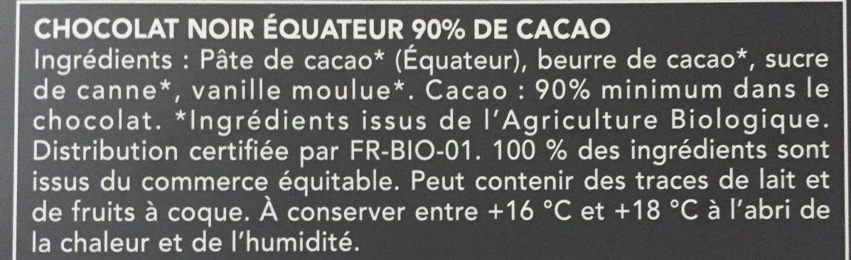 Chocolat Noir équateur 90% - Ingredients