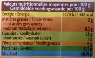 Torsades au Petit Épeautre - Nutrition facts