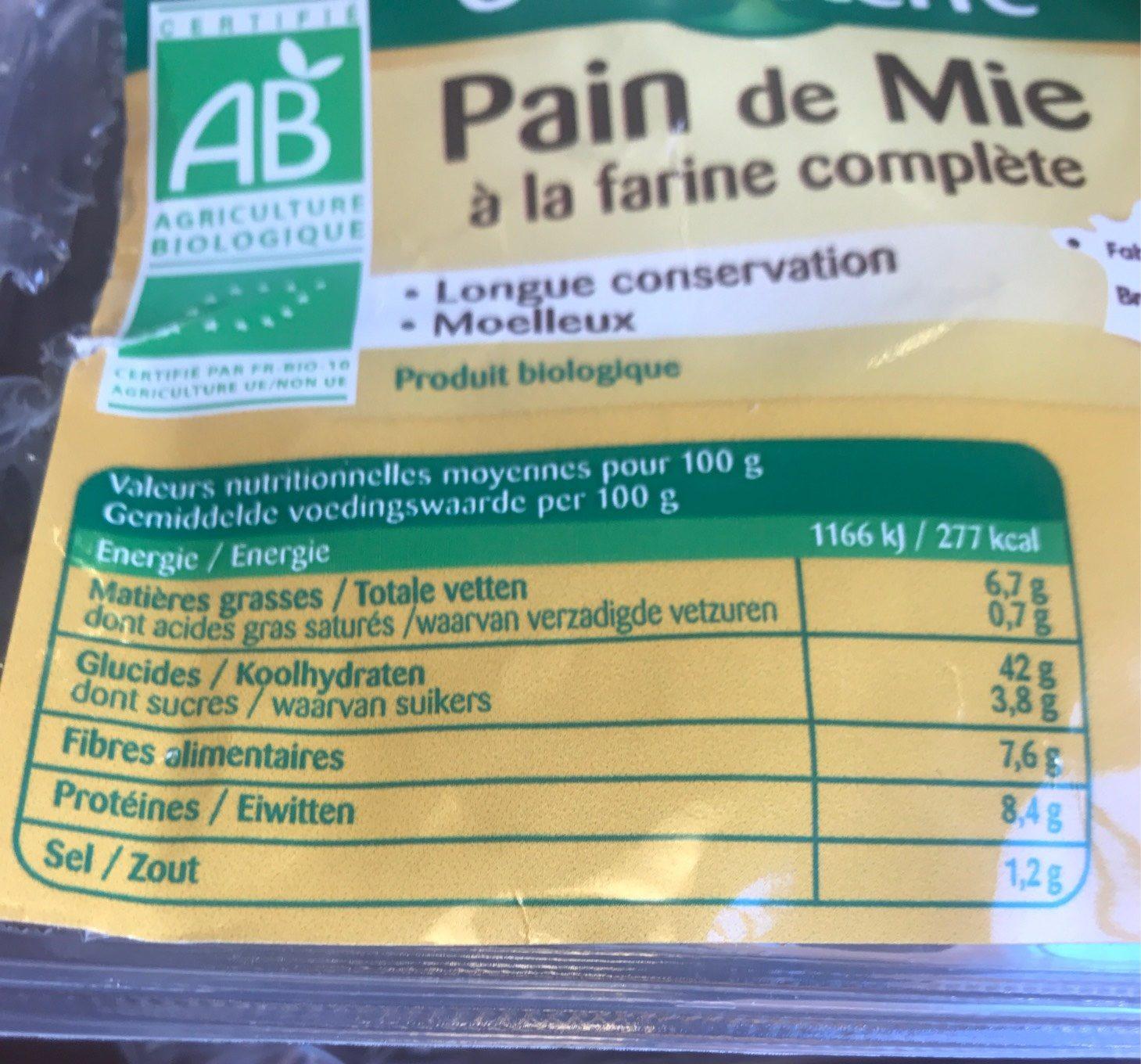 Pain de Mie à la farine complète - Informazioni nutrizionali - fr
