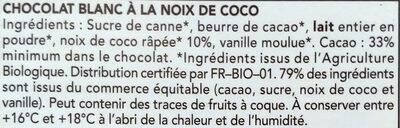 Chocolat blanc noix de coco - Ingrédients - fr