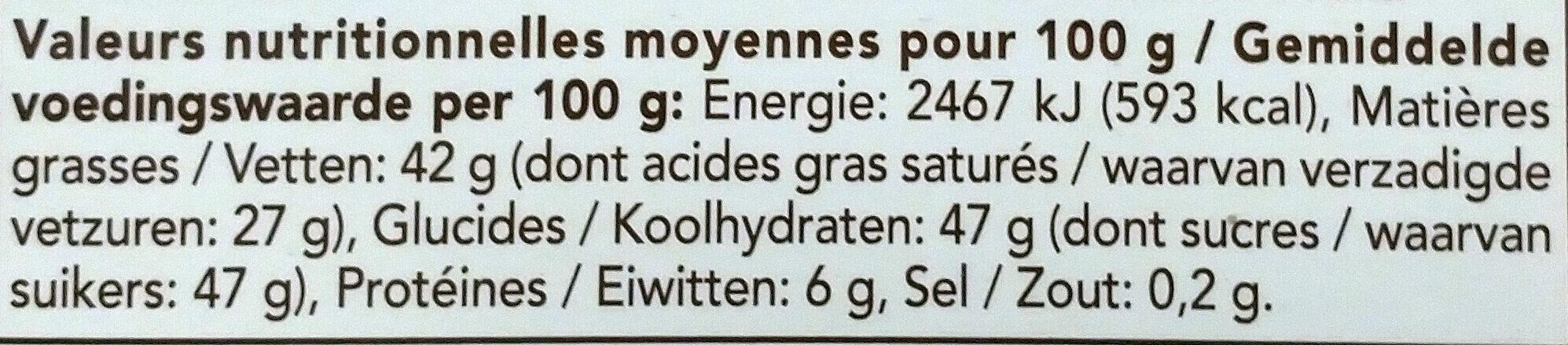 Chocolat blanc noix de coco - Informations nutritionnelles - fr