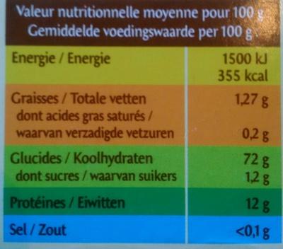 Lasagne - Informations nutritionnelles - fr