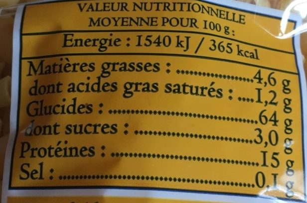 Coquillettes d'Alsace - Nutrition facts