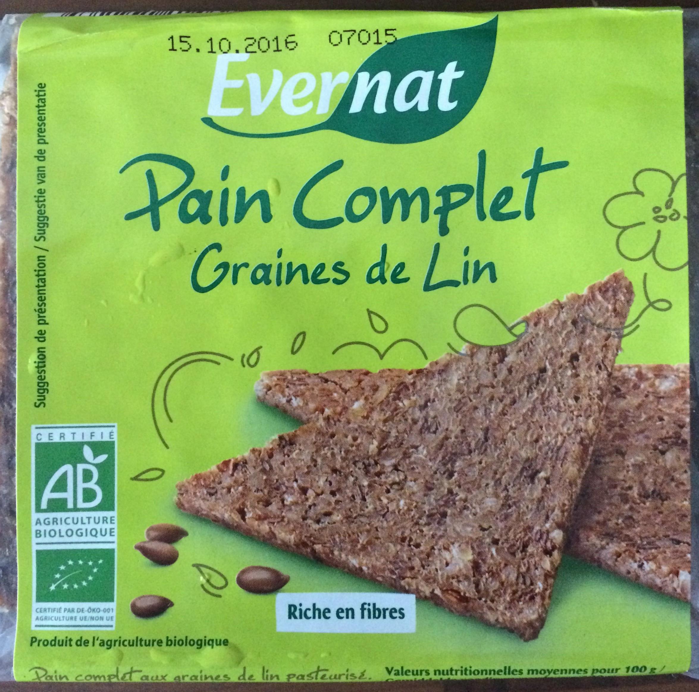 Pain Complet Graines de Lin - Evernat - 500 g e  Pain Complet Gr...