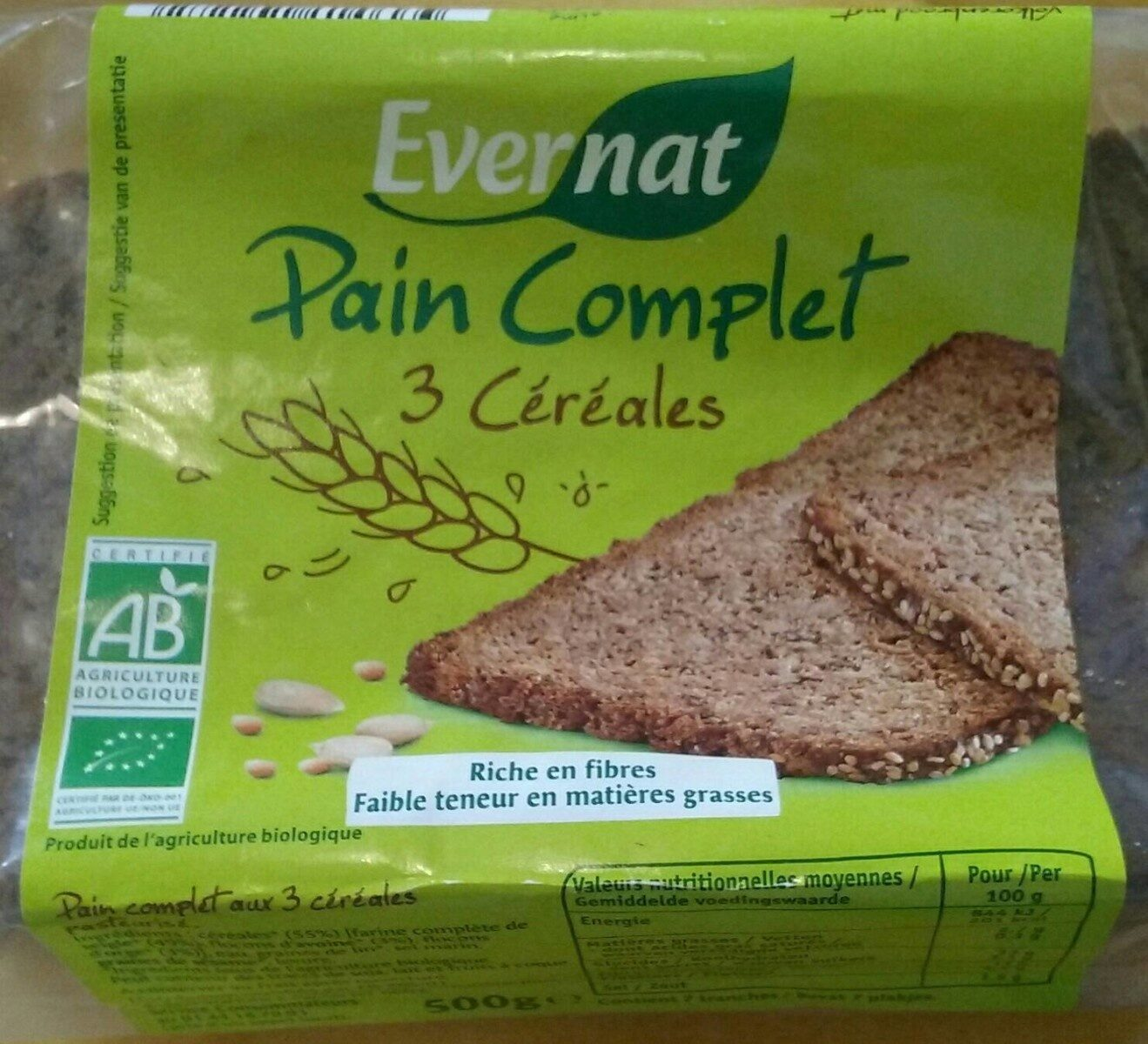 Pain complet aux 3 céréales en tranches - Evernat - 500 g  Pain complet au...