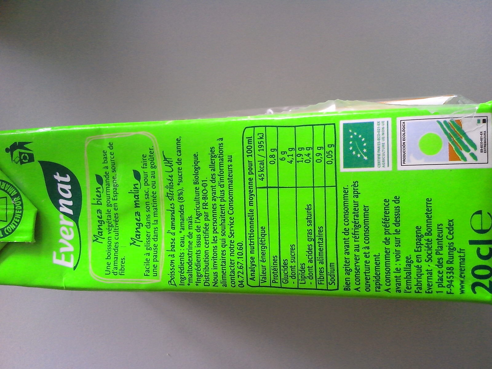 Nutriamande - Informations nutritionnelles