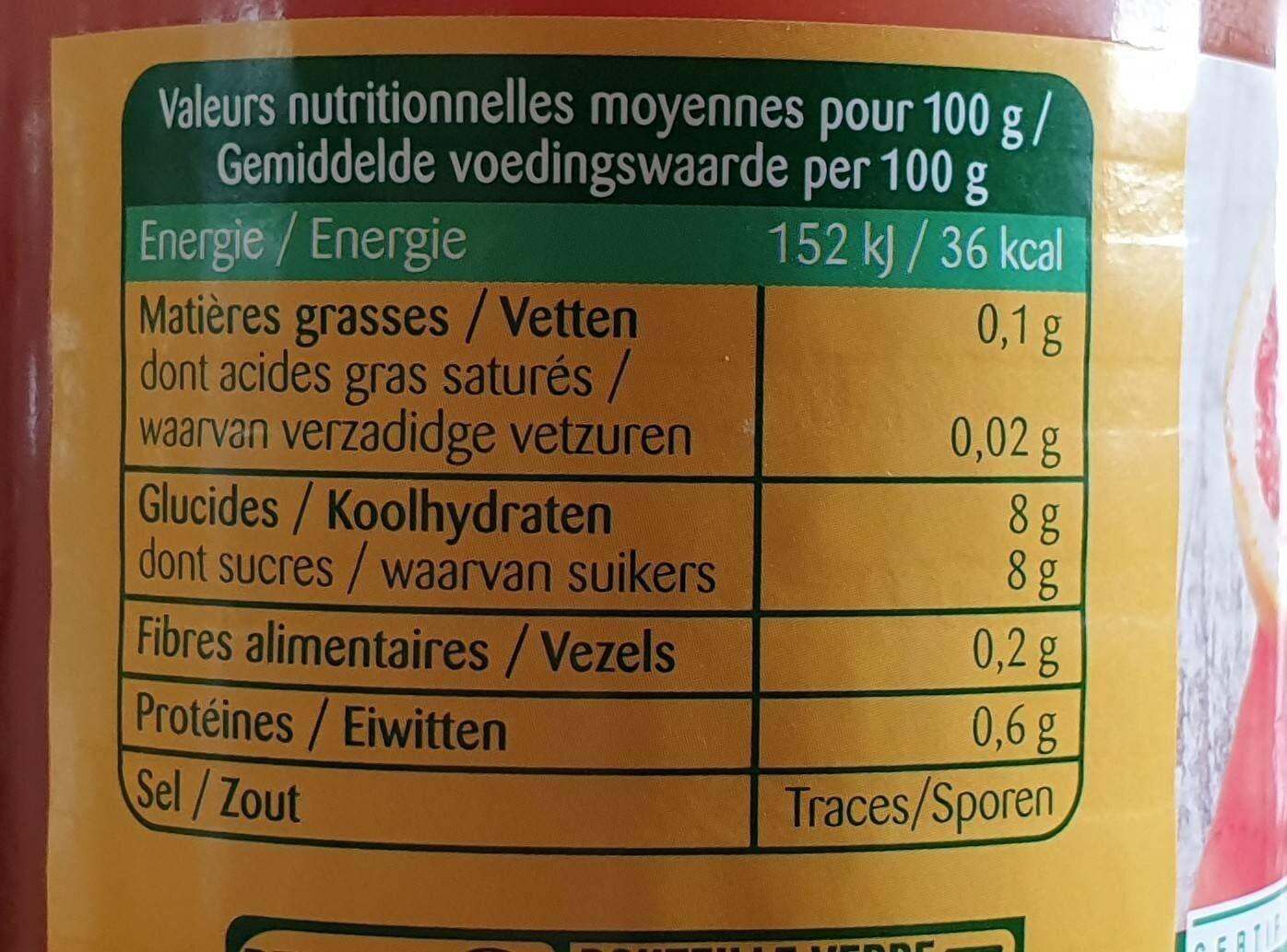 Epicerie / Boissons Et Vins / Jus Et Nectar De Fruits Bio - Informations nutritionnelles - fr