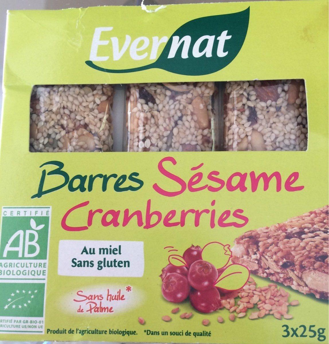Barres Sésame Cranberries - Product - fr
