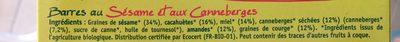 Barres Sésame Cranberries - Ingrediënten - fr
