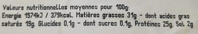 Gouda Vieux - Voedingswaarden - fr