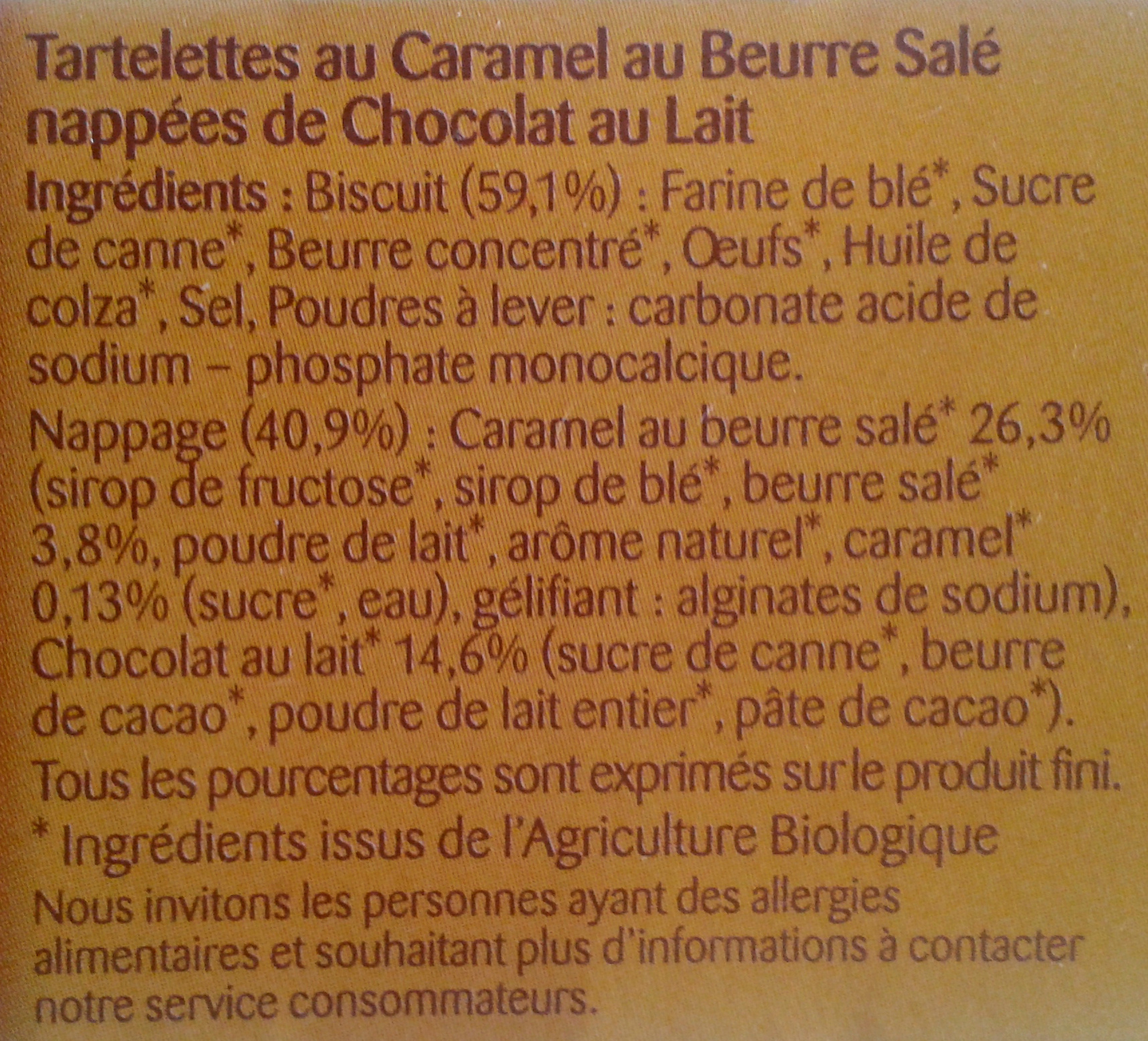 Tartelettes au caramel et chocolat au lait - Ingrediënten