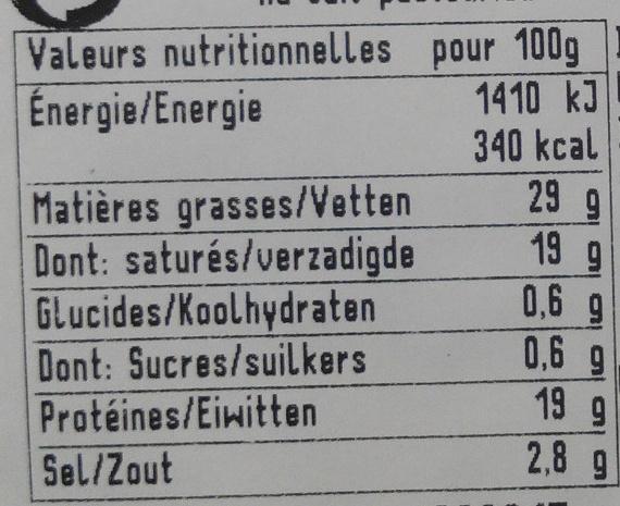 Fourme d'Ambert - Voedingswaarden - fr