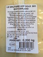 Gruyere Suisse Aoc Au Lait Cru - Ingredients - fr