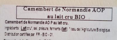 Camembert de Normandie AOP au lait cru AB - Ingredients - fr