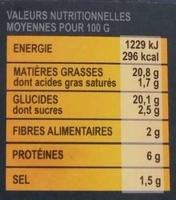 Knacks Veggie légumes - Informations nutritionnelles