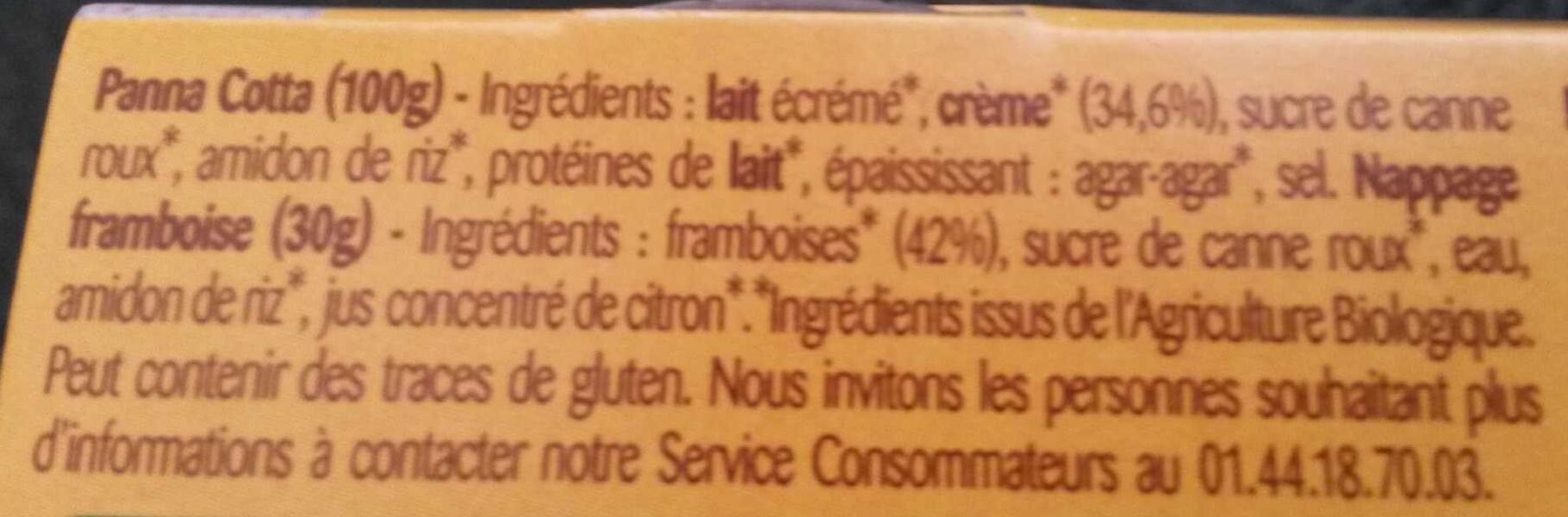 Panna Cotta Framboise - Ingredients - fr