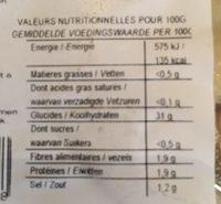 Gnocchis sans Gluten - Informations nutritionnelles - fr