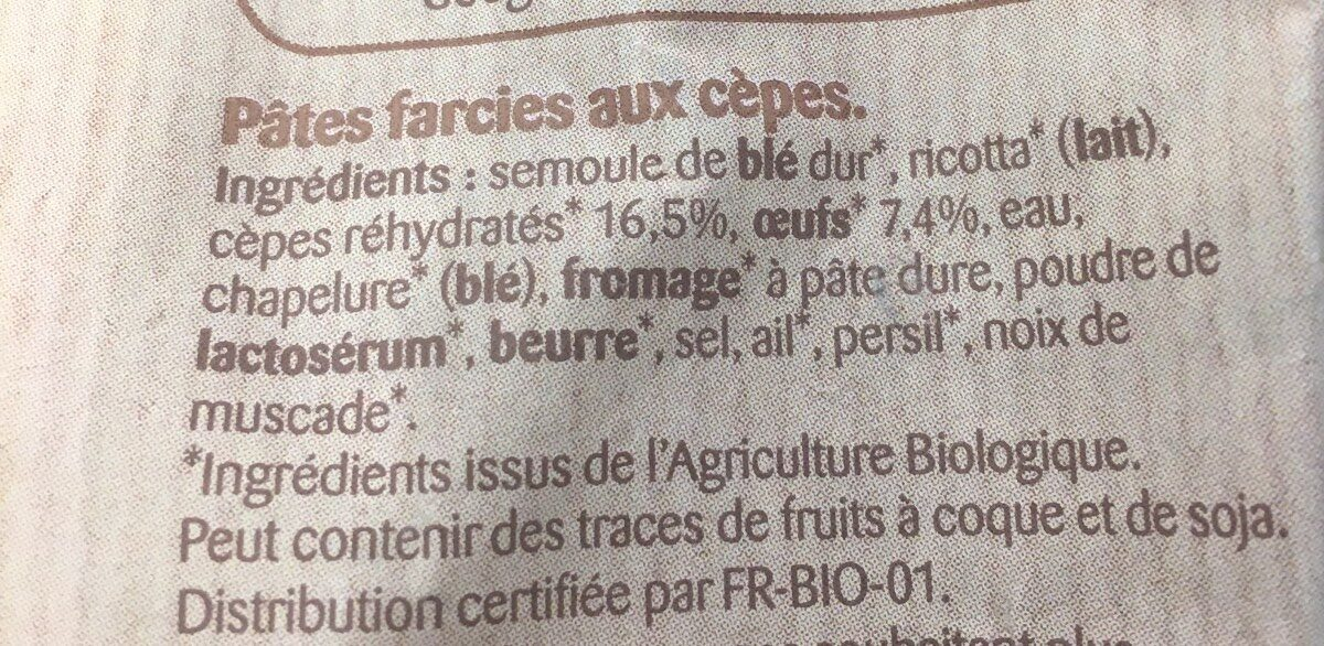 Mezzelune aux Cèpes - Inhaltsstoffe - fr