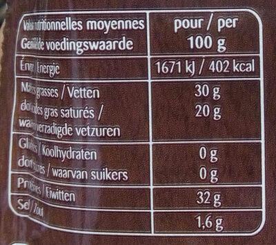 Parmigiano Reggiano AOP râpé - Nutrition facts