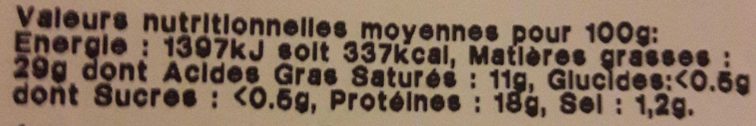 poitrine fumée au bois de hêtre - Informations nutritionnelles - fr