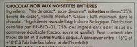 Chocolat Noir Noisette - Ingrédients - fr