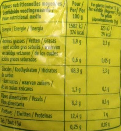 Galettes épeautre-riz-son d'avoine - Informations nutritionnelles - fr