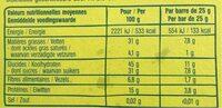 BARRE POMME CANNELLE SANS GLUTEN3X25G - Informations nutritionnelles - fr