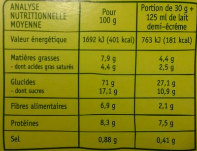 Spécial Matin Chocolat - Nutrition facts