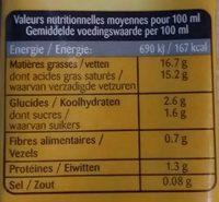 Lait de Coco Cuisine - Informations nutritionnelles