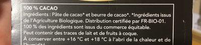 Chocolat 100% cacao - Ingrédients - fr