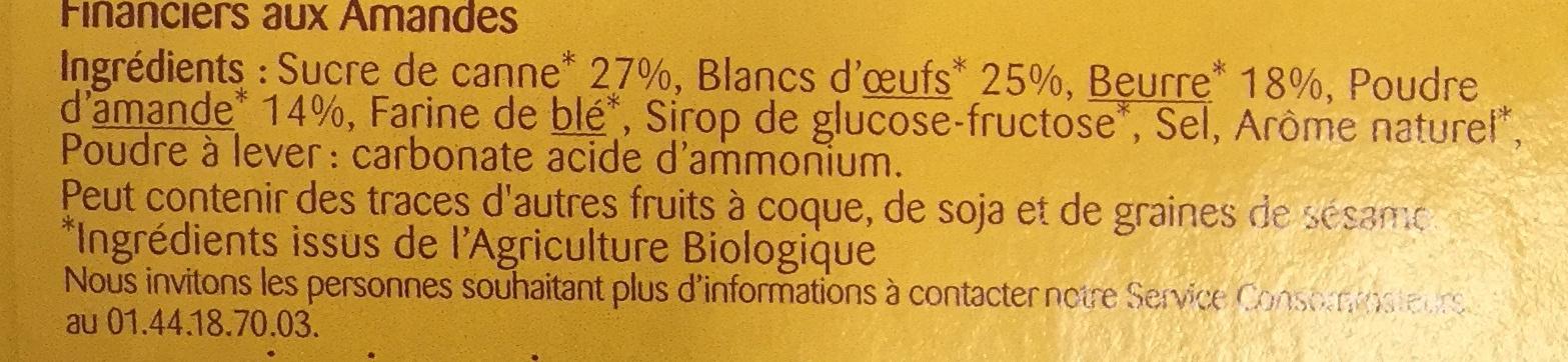 Financiers aux Amandes - Ingredients - fr