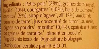 Tartinade de légumes Petits Pois Basilic - Ingrédients