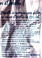 P'tits sablés Chocolat sans gluten - Ingrédients - fr