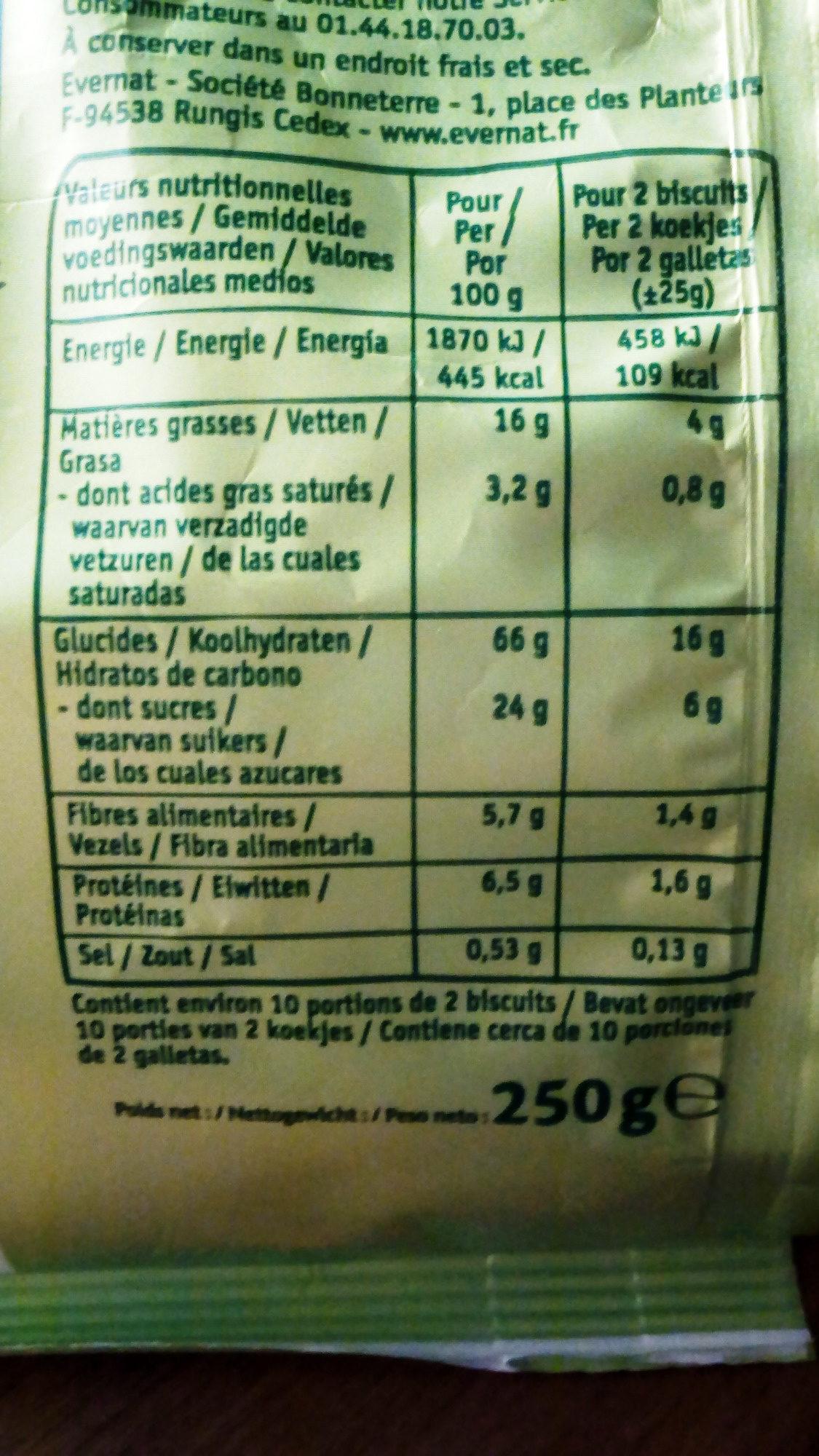 P'tits sablés Chocolat sans gluten - Informations nutritionnelles - fr
