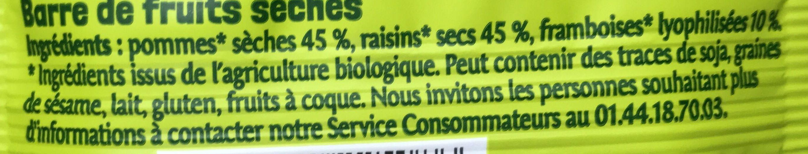 100% Fruits Framboise Pomme et Raisin - Ingredients