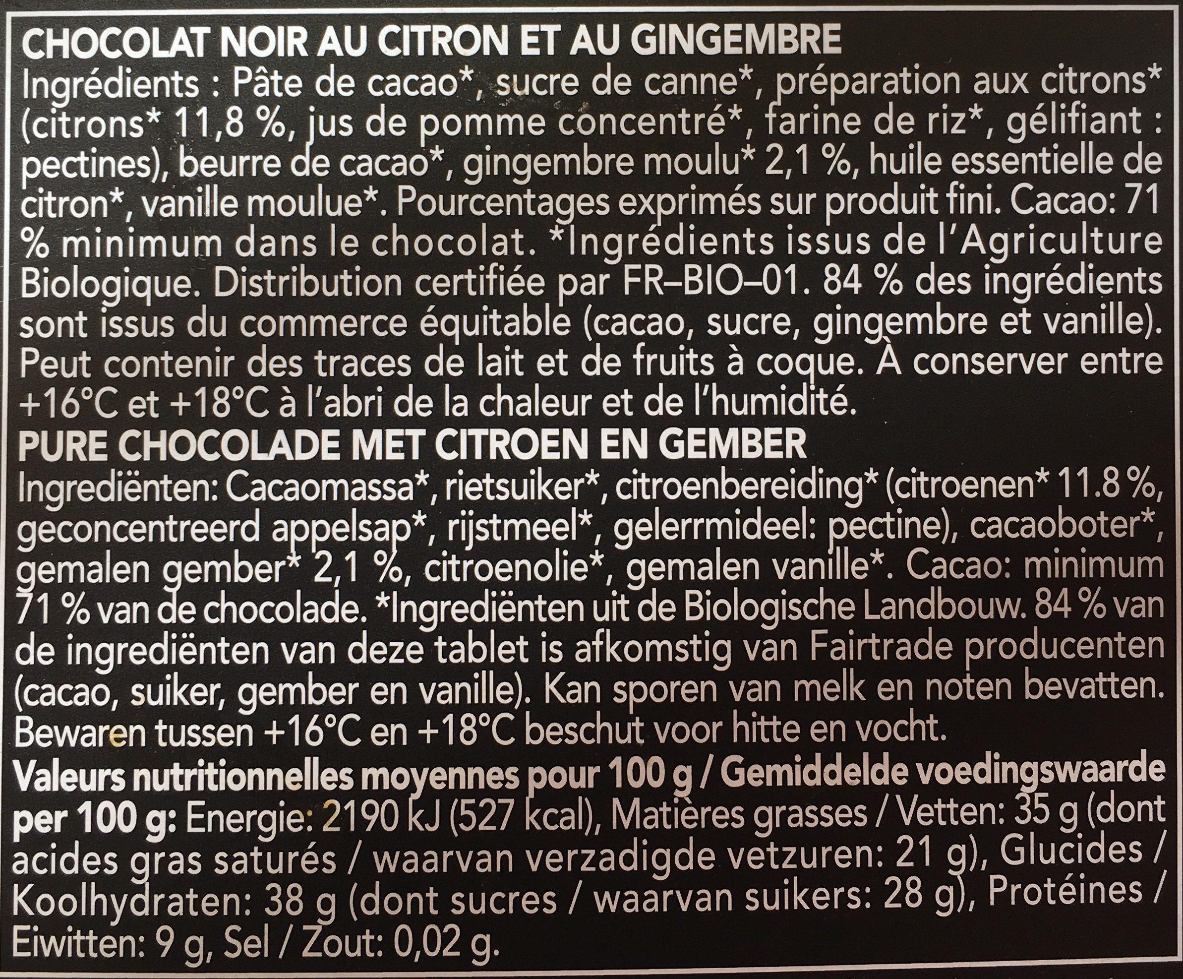 Chocolat noir citron gingembre - Ingredients