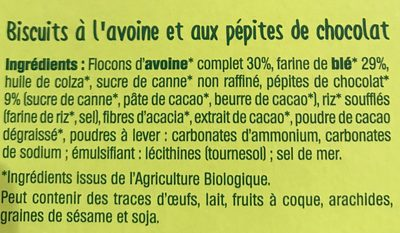 Croquants Avoine Chocolat - Ingrediënten - fr