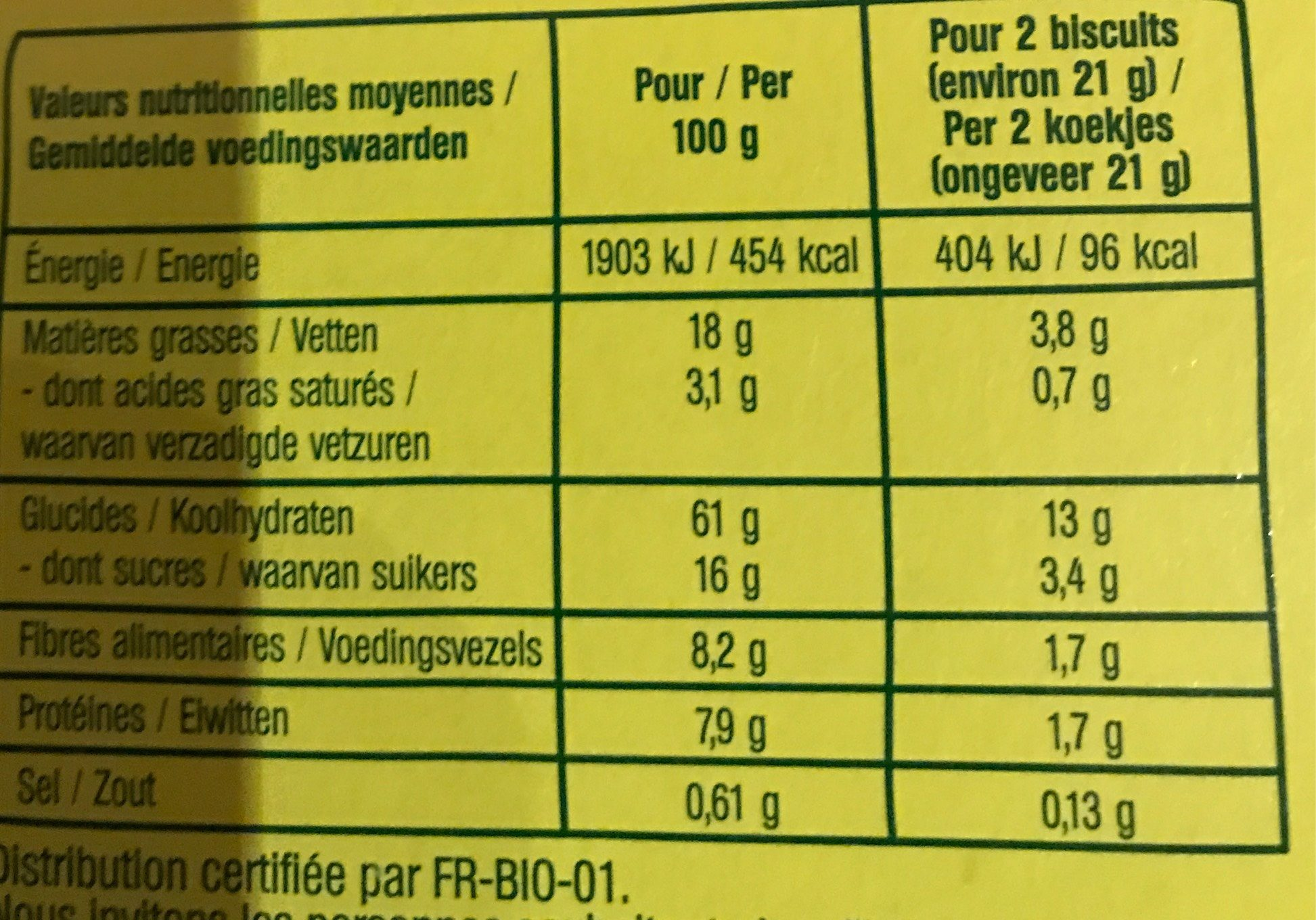 Croquants Avoine Chocolat - Voedingswaarden - fr