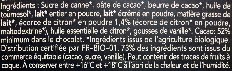 Chocolat Noir Facon Creme Au Citron - Ingredients
